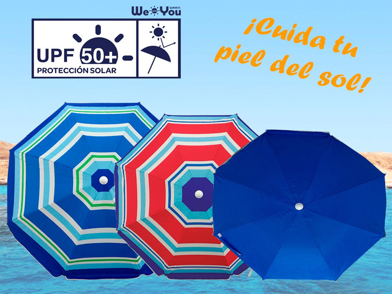 SOMBRILLA DE PLAYA 2.20MT.SIN PINCHO COLORES SURT. 327223-327224-327225