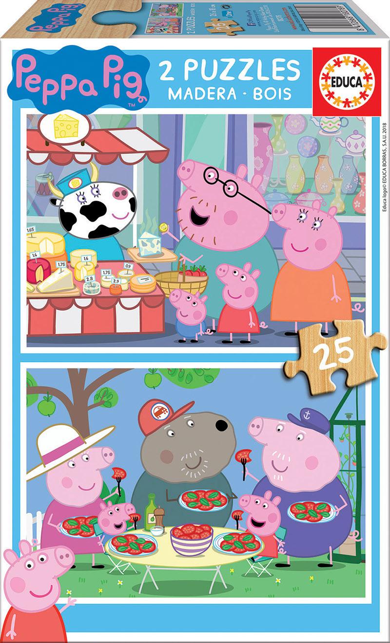 2X25 PEPPA PIG PUZZLE MADERA 18078